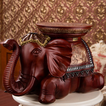 Crafts thick sturdy change shoe stool resin recruit elephant imitation solid wood decorations decoration