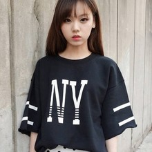 T-shirt women 18 to 24 years old students Han Fan spring and summer with short sleeves contracted NY printed letters long render unlined upper garment of easing