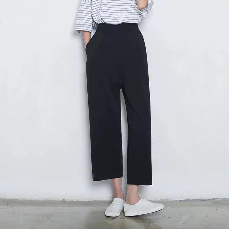 高腰闊腿褲女九分褲 韓國黑色 褲 直筒長褲寬腿褲子