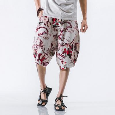 2号色中国风男士棉麻七分裤加大码短裤沙滩裤A032/DK001/50控68