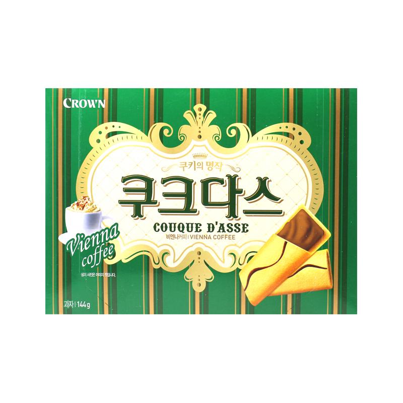 ~天貓超市~韓國 餅幹 可瑞安夾心蛋卷(咖啡味)144g 盒年貨