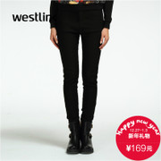 Westlink/West 2015 winter new ladies casual black slacks and cashmere slim pencil thick warm trousers