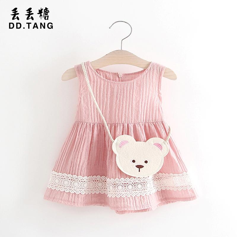 Девушка летний костюм 0-1-2-3 лет платье ребенок юбка лето жилет юбка маленький корейский девушка платье принцессы