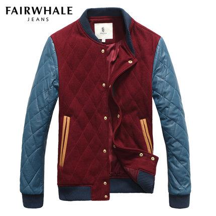 马克华菲棉服 冬款男士棉衣时尚撞色拼接立领修身潮外套