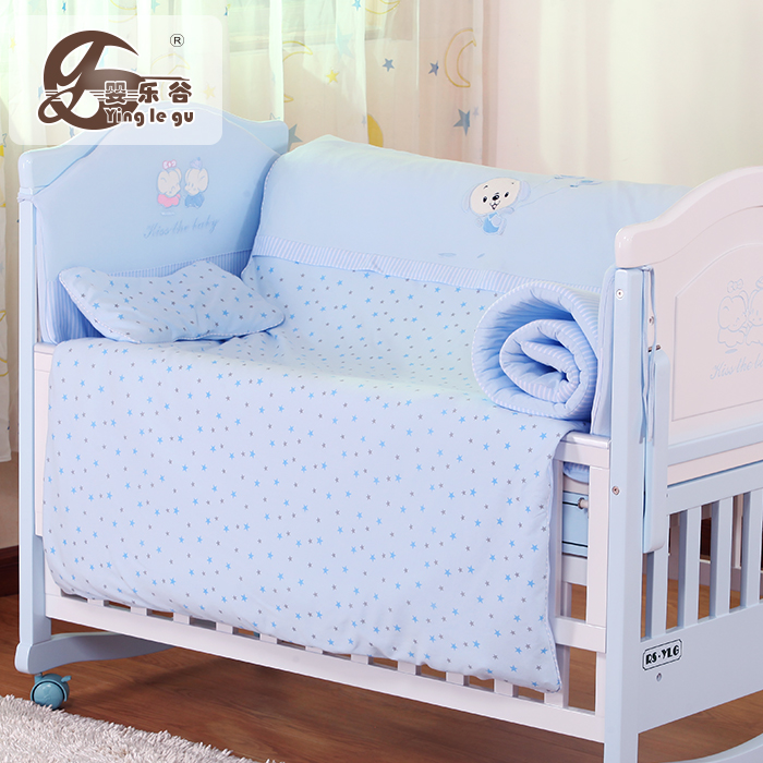 Baby happy valley Crib Bedding seven piece set knitted cotton full set washable warm crib with bed circumference