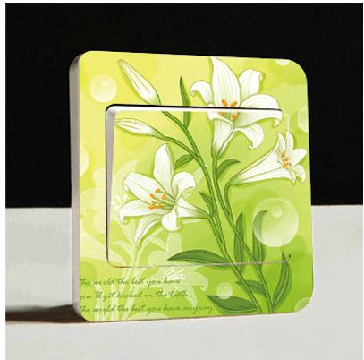 植物花卉DIY温馨浪漫花卉彩色开关贴花 插座贴创意透明开关墙贴画