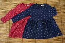 South Korea's new bambino girls fall wave point two color red and blue cotton dress