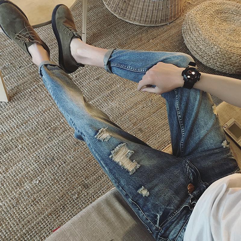 Весной новых девяти джинсы мальчиков ног Слим отверстие в корейской версии гарем брюки 9 брюки тенденции