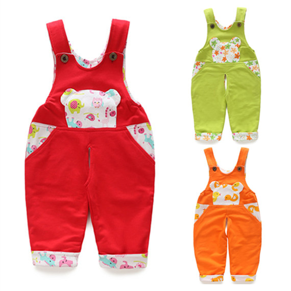 Babys pants spring and autumn babys open-end suspenders boys and girls childrens double-layer cotton one-piece long pants
