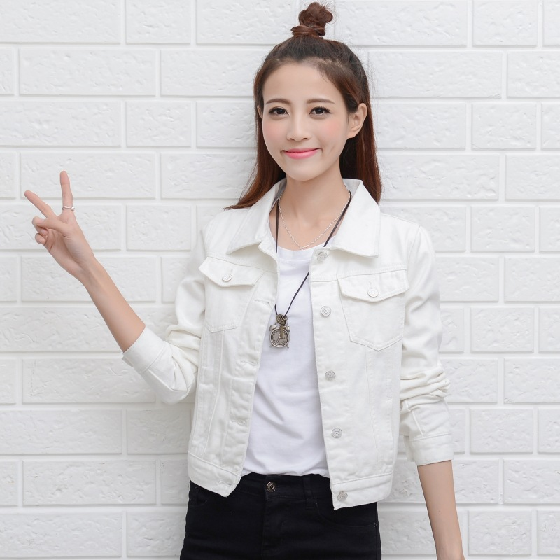 Spring and autumn 2020 thin white denim jacket female short long sleeve student loose Korean Jacket Large Size with top