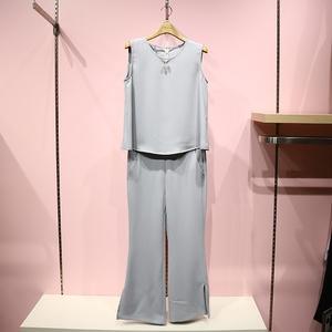 阿依莲代购 专柜 正品2017夏装时尚纯色两件套简洁套装172187A171