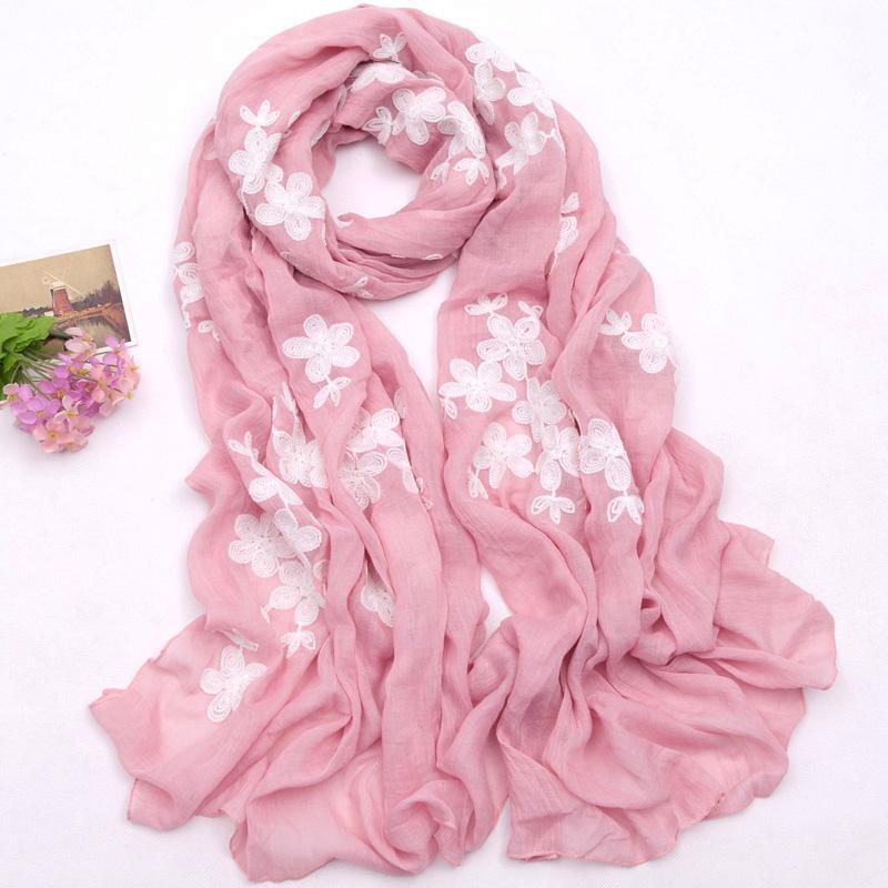 圍巾女純色刺繡女士絲巾長款 披肩兩用韓國秋 百搭棉麻