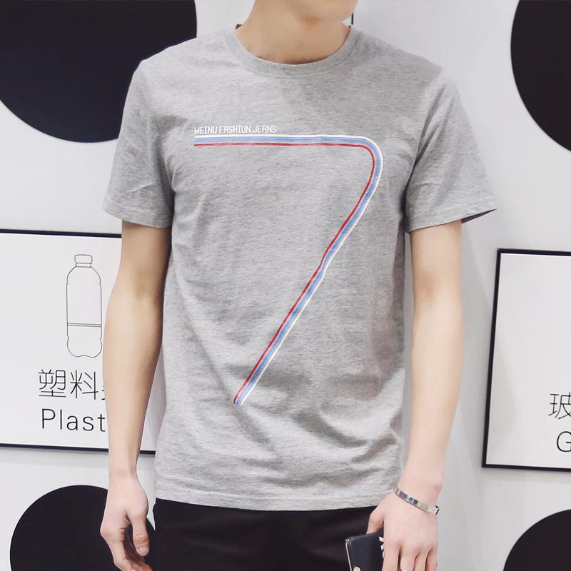 男装夏装新款半袖体恤男士百搭潮短袖T恤韩版修身打底体恤上衣服