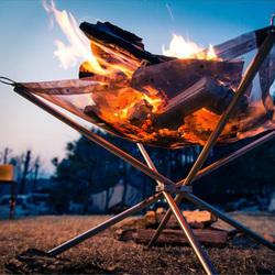 户外超轻量柴火炉不锈钢点炭炉折叠烧烤架生火炉生碳取暖炉焚火架