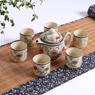 色土 7件套双层壶陶瓷整套功夫茶具套装