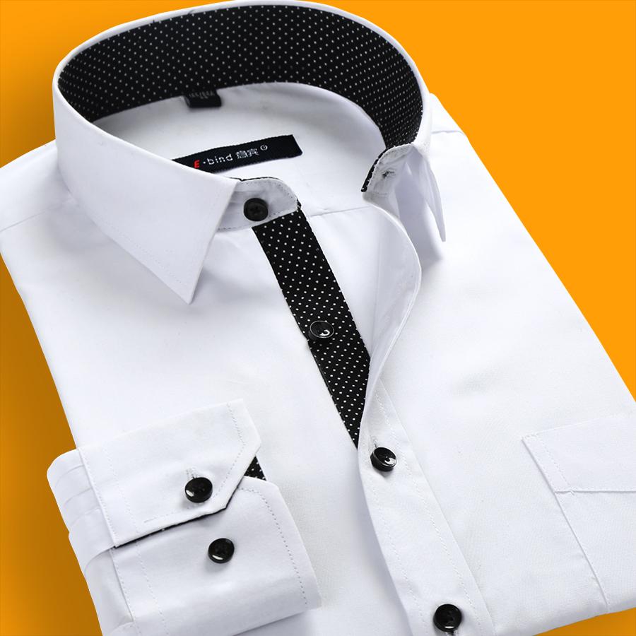 春秋季男士 长袖 白衬衫商务休闲免烫修身职业纯色M衬衣潮男装