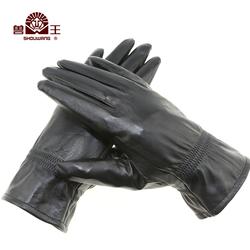 兽王男士真皮手套冬季加绒加厚保暖防风绵羊皮开车户外骑车模特车