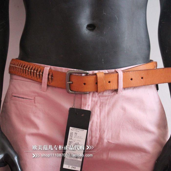 欧美范儿专柜正品 杰克琼斯 沙色个性牛皮时尚男士皮带真皮腰带