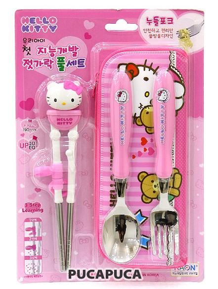 韩国进口HelloKitty凯蒂猫餐具卡通立体半钢学习筷勺叉包4件套