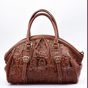 Long leather women bag Chao style dumplings stuffed with vintage shell, beautiful header layer of leather hand embossed shoulder bag