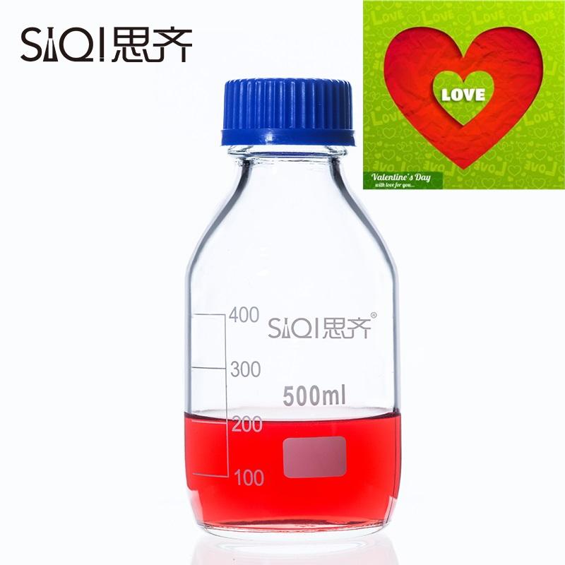 【】透明丝口瓶 密封瓶 玻璃瓶 500ml思齐 蓝盖试剂瓶 螺纹口带刻