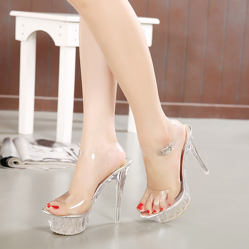 14cm thick sole super high heel waterproof platform crystal sandals large womens shoes model show shoes Korean Princess Wedding Shoes