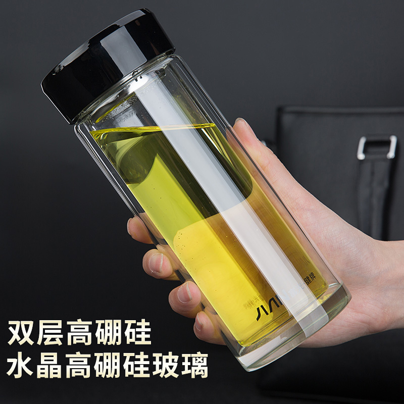 富光玻璃杯男士商务水晶双层隔热保温茶杯加厚过滤耐热车载水杯子