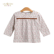 La la bei rat female baby autumn with floral shoulder open jacket made of pure cotton long sleeve T-shirt baby retro floral blouse