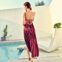 酒红美人海滩度假连衣长裙露背系带沙滩裙开叉波西米亚裙 4278