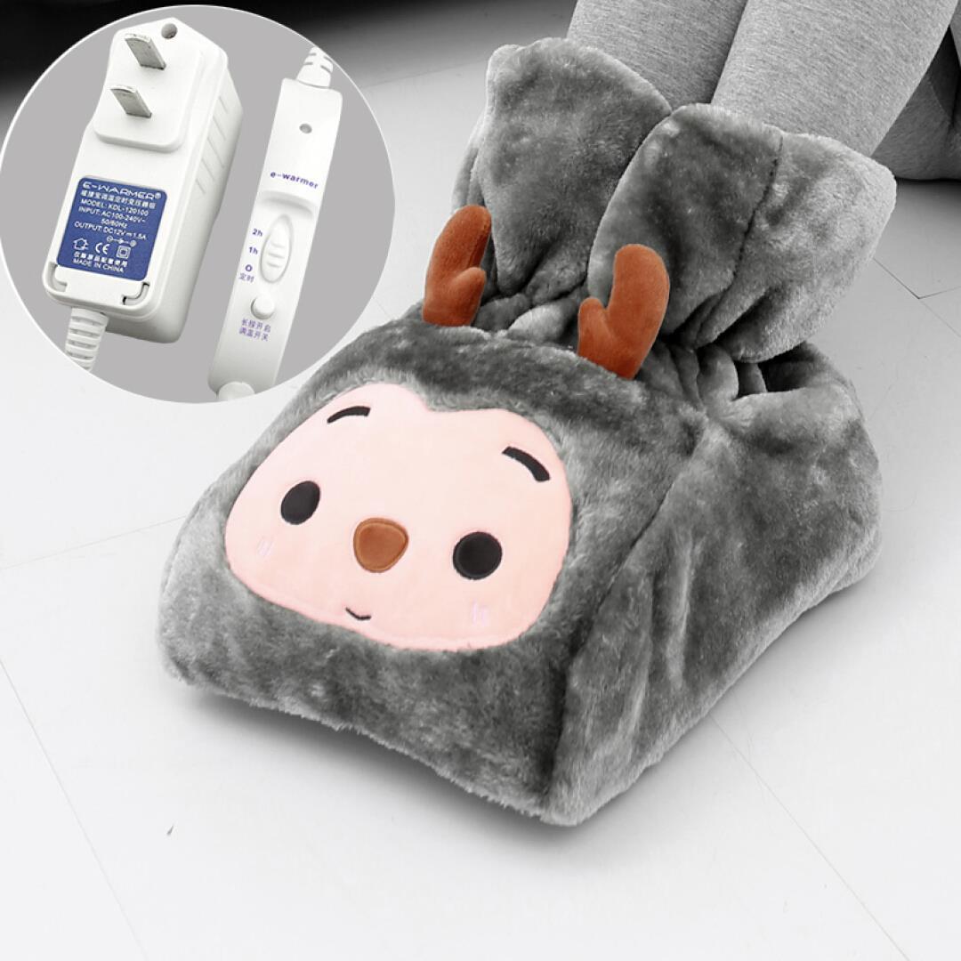 伊暖儿高帮插电卡通暖脚宝暖脚垫电暖宝暖手宝加热坐垫电暖鞋 12V