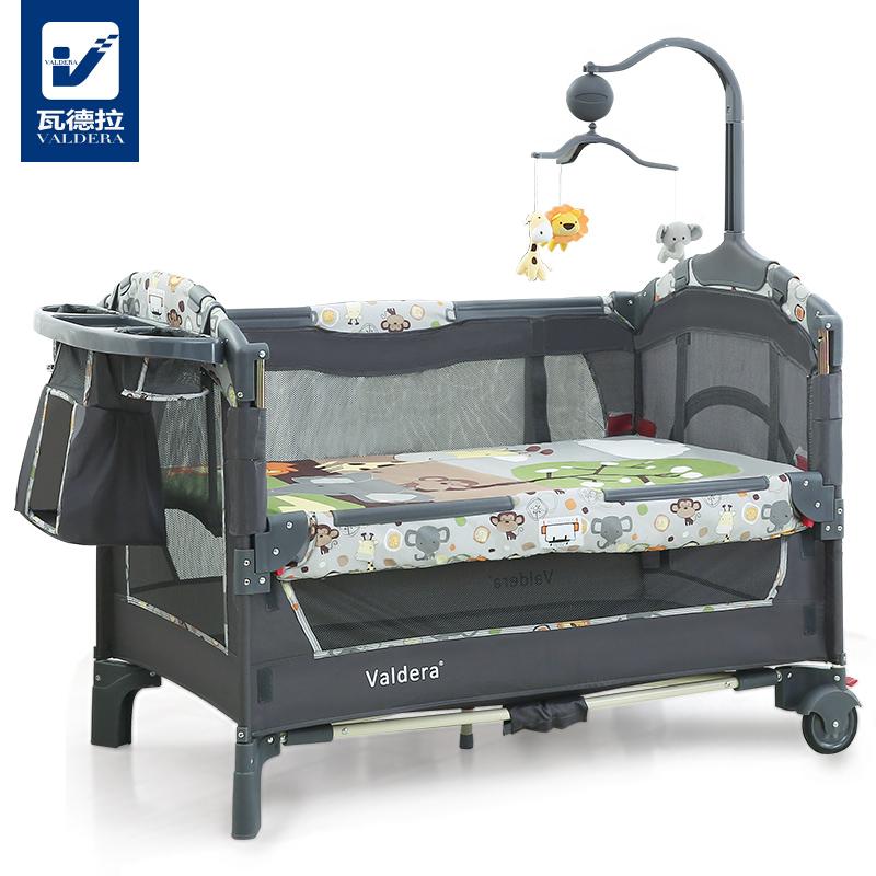 Valdera многофункциональный складные кровать для младенца континентальный портативный игра кровать bb ребенок кровать может стыковка группа сетка от комаров