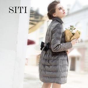 Siti Selected 复古金丝绒<span class=H>羽绒</span><span class=H>服</span>女款 裙摆中长款灰色<span class=H>羽绒</span>衣女士
