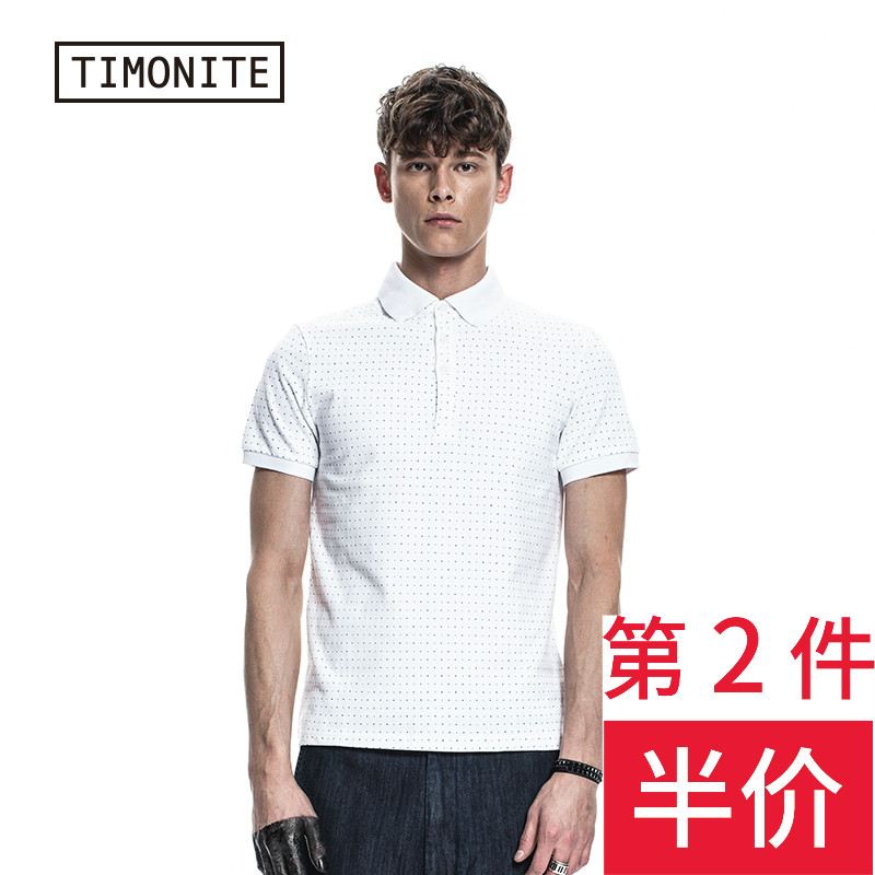 Timonite男士短袖修身T恤 翻領英倫波點印花v領純棉polo衫 潮