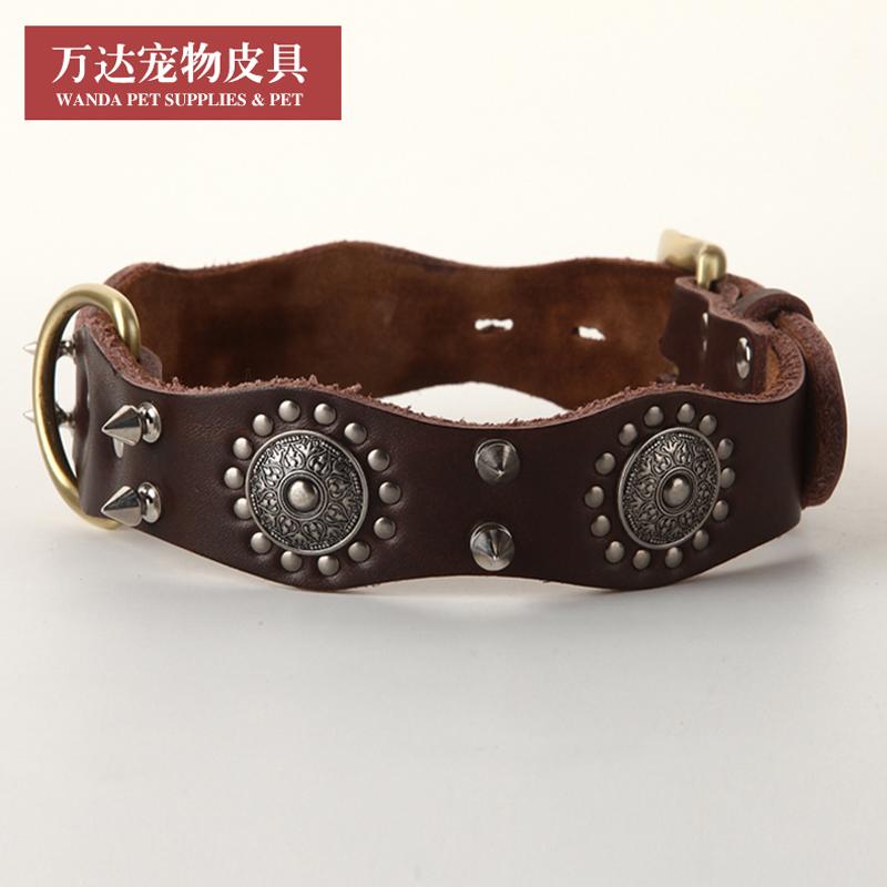Wanda Vintage rivet leather collar large dog anti bite collar leather pet domineering dog collar