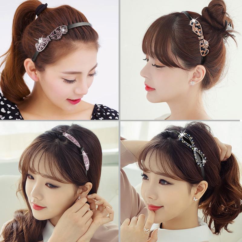 典雅細發箍韓國水鑽帶齒頭箍 簡約蝴蝶結頭飾氣質百搭奢華發卡