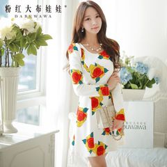 New dress big pink doll 2015 autumn white roses printed length sleeve dress women