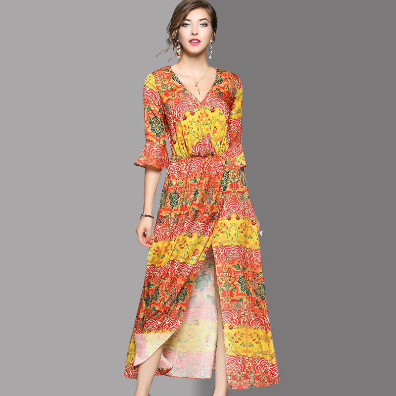 小虫米子欧洲站17夏季新款女装性感V领印花喇叭袖开叉长款连衣裙