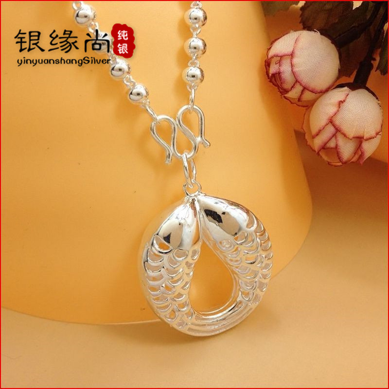 S990 Silver Necklace womens Sterling Silver sweater chain big Pendant Silver Beads Necklace Silver Beads thick long jewelry accessories