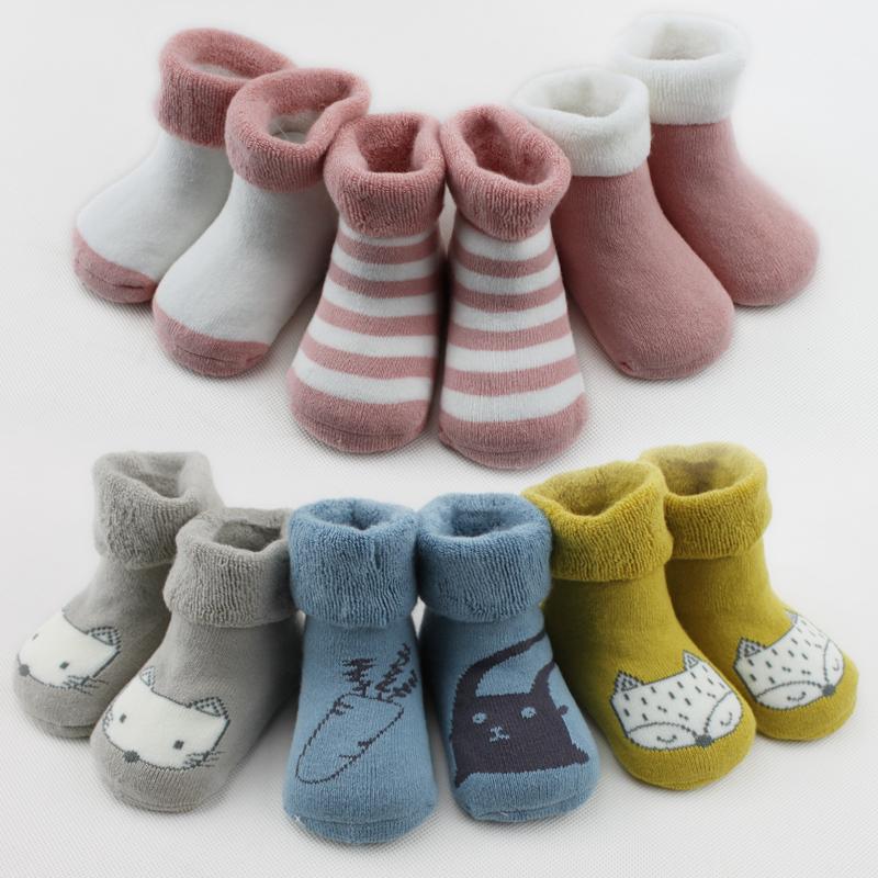 杰米本宝宝婴儿袜子秋冬季加厚保暖0-3-6-12个月纯色棉1-3岁冬天