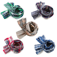 Positive and negative wear children's scarf The new children's clothing baby bib grid double yarn thin model The boy girl scarf