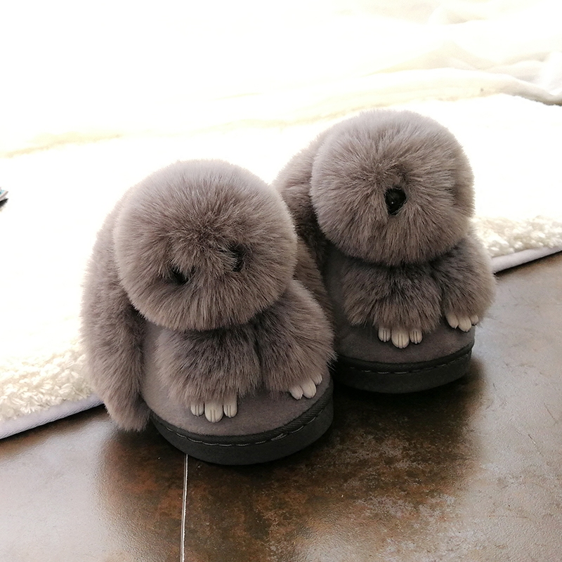 儿童棉拖鞋秋冬季女童男童家居室内防滑可爱兔子毛毛绒宝宝棉拖鞋