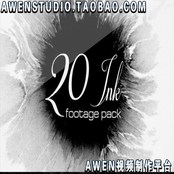 20组水墨墨迹墨滴流散开动画油漆飞溅效果视频2K素材片头-视频素材-sucai.tv