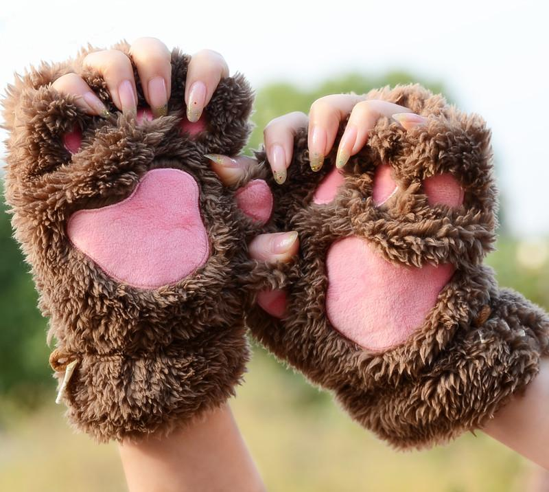 Bag mail cat claw Gloves Winter lovely girl open fingered gloves thickened Plush Bear Paw half fingered gloves