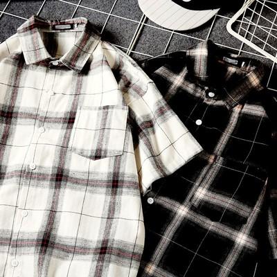 夏季港风爆款1 宽松休闲格子男士短袖衬衫 网格风 BK05 P45
