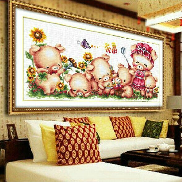 精準印花十字繡客廳 臥室幸福之家動物卡通餐廳小豬一家畫包郵