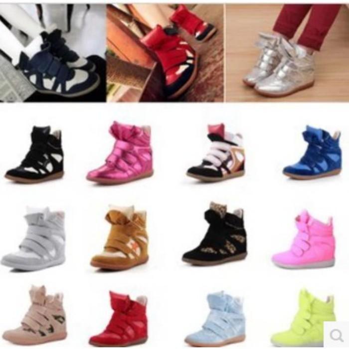 Высокая осенью 2015 корейской версии липучки обувь ботинки туфли черные и белые стелс высокие кроссовки Женская обувь в прилив