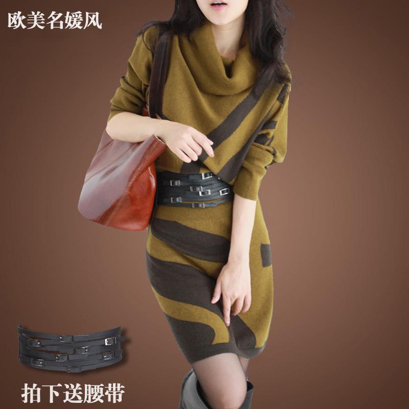 春と秋の長袖の大きいサイズの婦人服の毛のスカートの中で長い丈のコウモリの袖のウールのニットのワンピースの冬はポケットの尻のスカートを収めます。