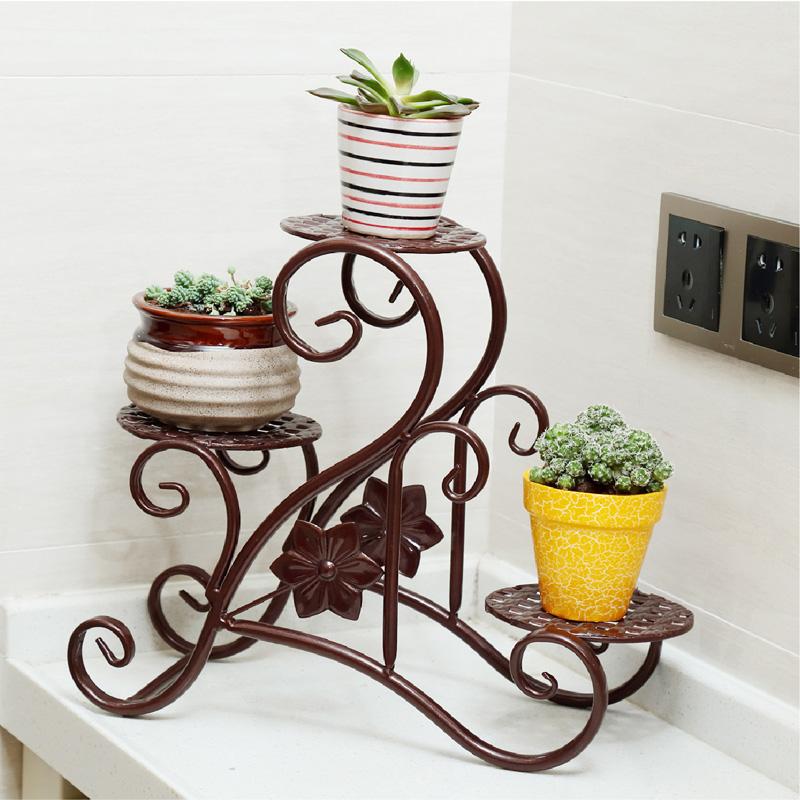 全譯歐式 鐵藝陽台窗台辦公桌多肉植物小花盆多層花架
