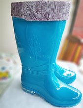 Authentic ms Chen xin add flocking tall canister boots to keep warm cotton water shoes Fashion flanging printing waterproof rain boots shoes