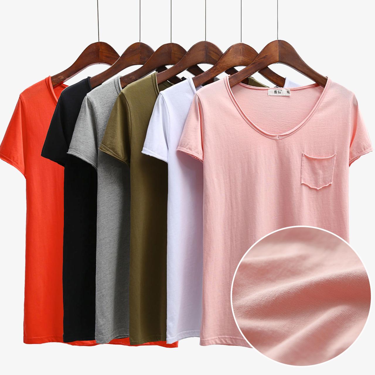 2018hm短袖T恤女装夏韩国学生宽松半袖KM8A21P纯棉体恤简约纯色